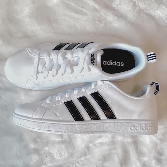 NEW Adidas White Shoes With Black Stripes